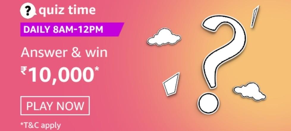 Amazon Quiz 2 January 2021 Answers Win Rs. 10,000 Pay Balance (3 Winners)
