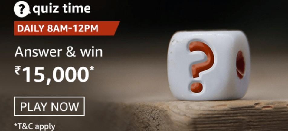 Amazon Quiz Answers 29 January 2021 Win Rs. 15,000 Pay Balance (3 Winners)