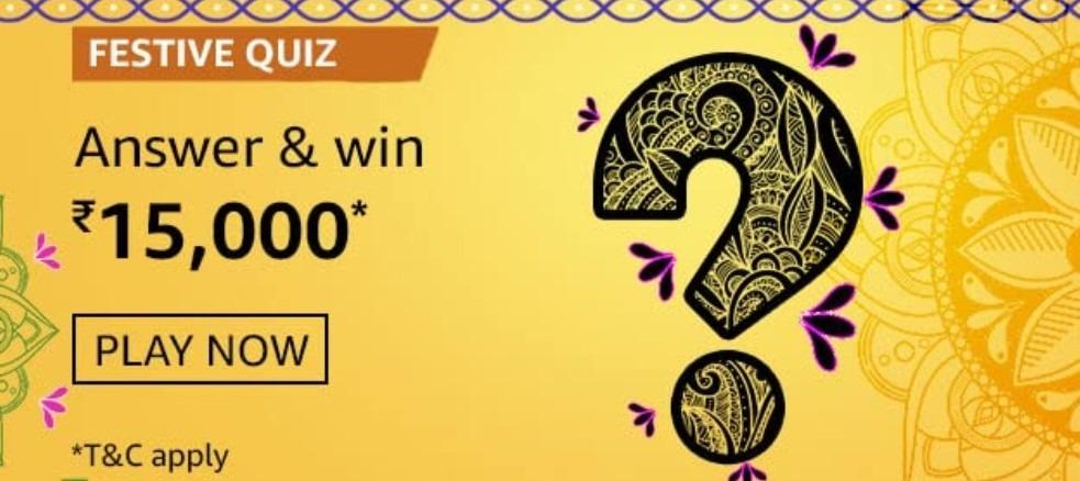 Amazon Festive Quiz Answers Win Rs. 15,000 Pay Balance (3 Winners)