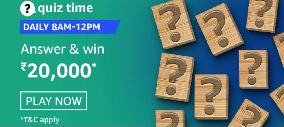 Amazon Quiz Answers 10 February 2021 Win Rs. 20,000 Pay Balance (2 Winners)