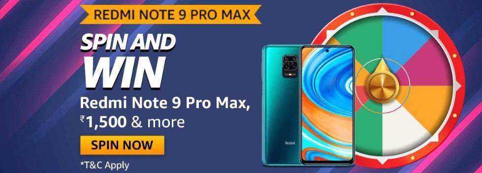 Amazon Spin and Win Redmi Note 9 Pro Max