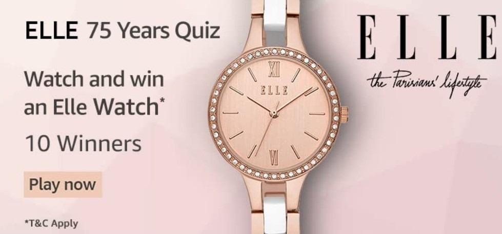 Amazon Elle 75 Years Quiz Answers Win Elle Watch (10 Winners)