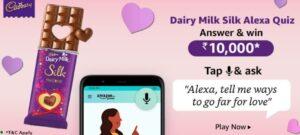 Amazon Dairy Milk Silk Alexa Quiz Answers Win Rs. 10,000 Pay Balance (5 Winners)