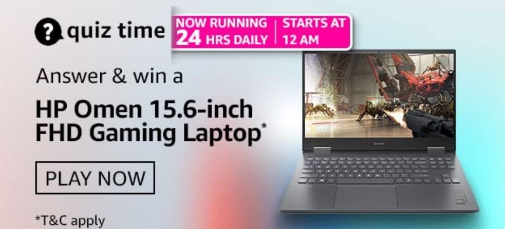 Amazon Quiz Answers 16 February 2021 Win HP Omen 15.6-inch FHD Gaming Laptop