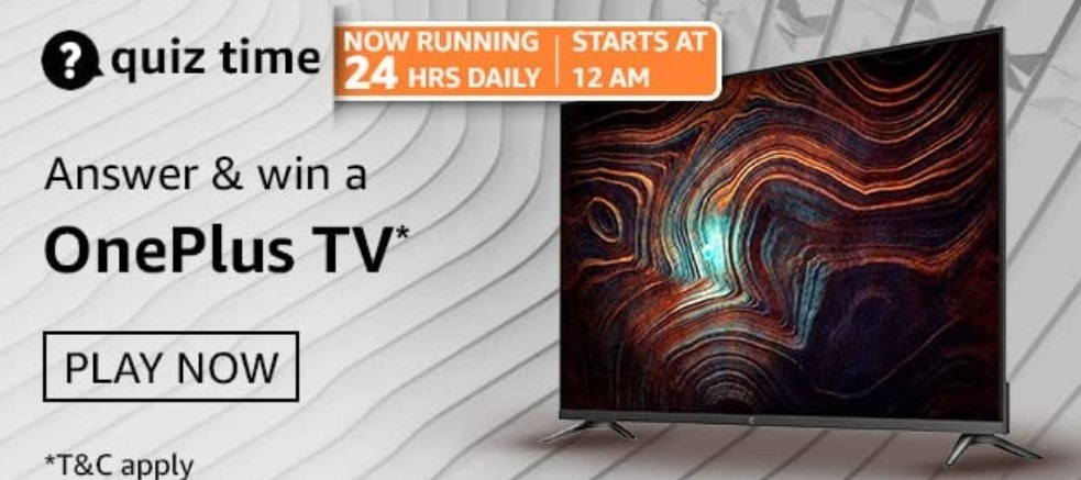 Amazon Quiz Answers 21 February 2021 Win OnePlus TV