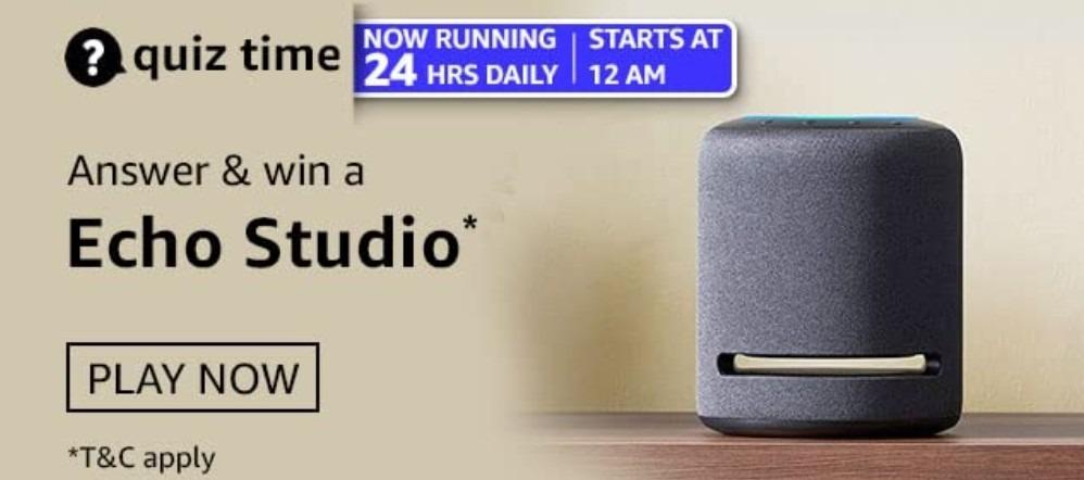 Amazon Quiz Answers 23 February 2021 Win Echo Studio