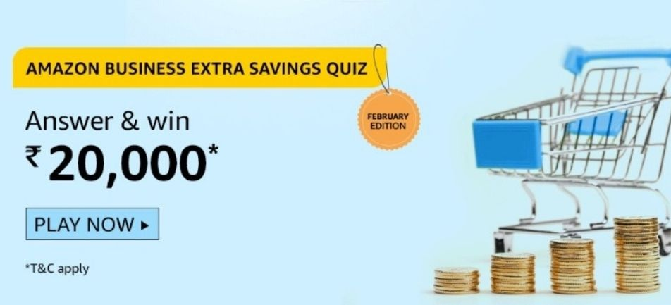 Amazon Quiz Answers 12 February 2021 Win Rs. 15,000 Pay Balance (2 Winners)