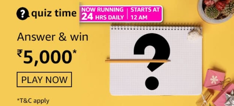 Amazon Quiz Answers 19 March 2021 Win Rs. 5000 Pay Balance (10 Winners)