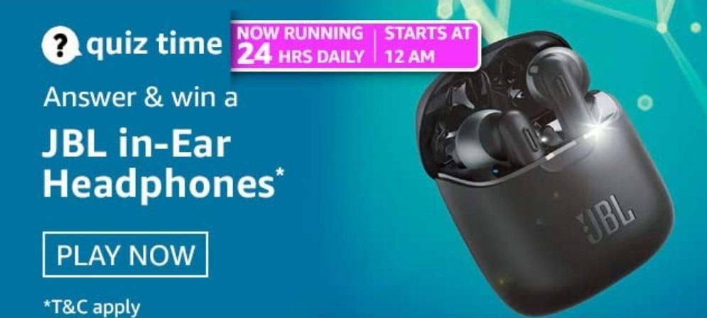 Amazon Quiz Answers 11 March 2021 Win JBL in-Ear Headphones