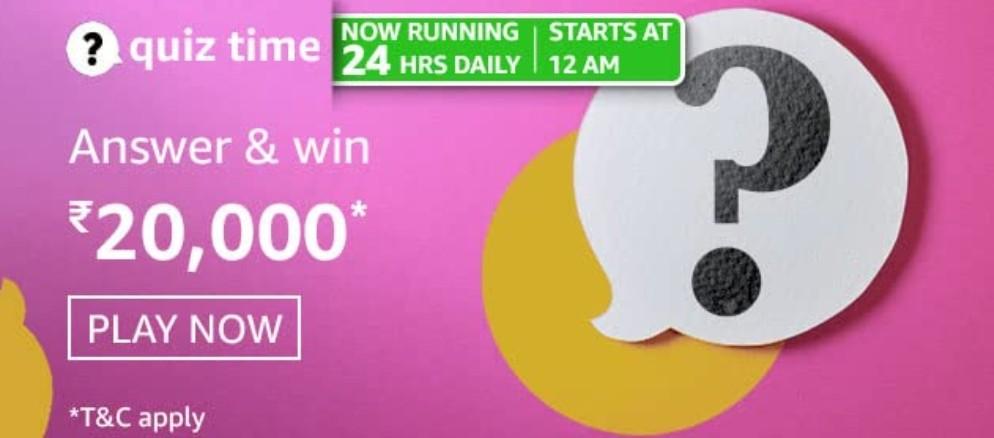 Amazon Quiz Answers 10 March 2021 Win Rs. 20,000 Pay Balance (2 Winners)