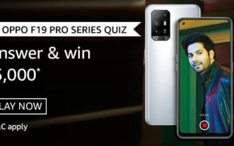 Amazon Oppo F19 Pro Series Quiz Answers Win Rs.5000 Pay Balance (20 Winners)