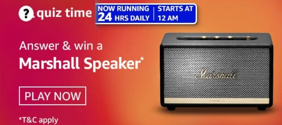 Amazon Quiz Answers 16 March 2021 Win Marshall Speaker