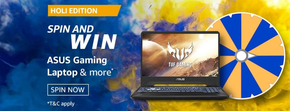 Amazon Spin and Win Holi Edition Quiz Answer Asus Laptop