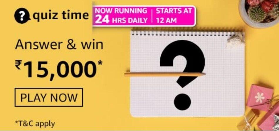 Amazon Quiz Answers 9 April 2021 Win Rs. 15,000 Pay Balance (3 Winners)