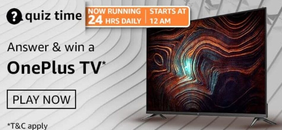 Amazon Quiz Answers 18 April 2021 Win OnePlus TV