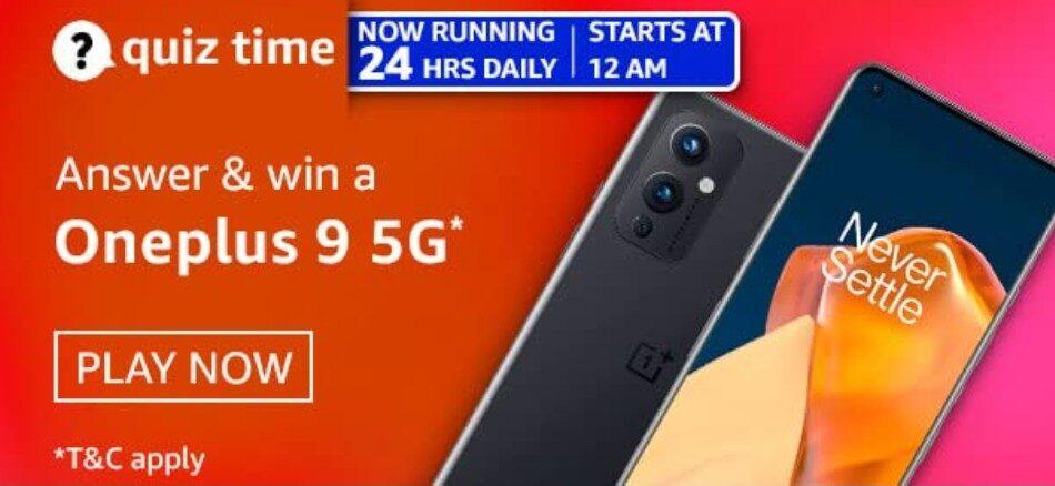 Amazon Quiz Answers 25 April 2021 Win Oneplus 9 5G