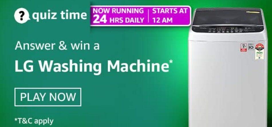 Amazon Quiz Answers 29 April 2021 Win LG Washing Machine