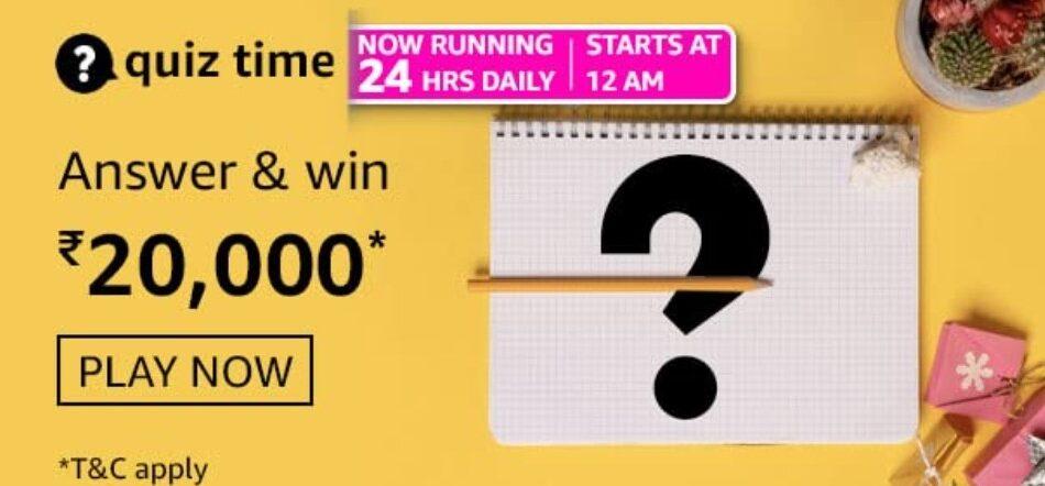 Amazon Quiz Answers 28 May 2021 Win Rs. 20,000 Pay Balance (2 Winners)