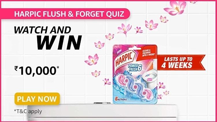 Amazon Harpic Flush & Forget Quiz Answers Win Rs. 10,000 Pay Balance (10 Winners)