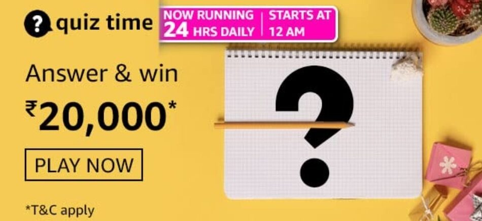 Amazon Quiz Answers 9 June 2021 Win Rs. 20,000 Pay Balance (2 Winners)