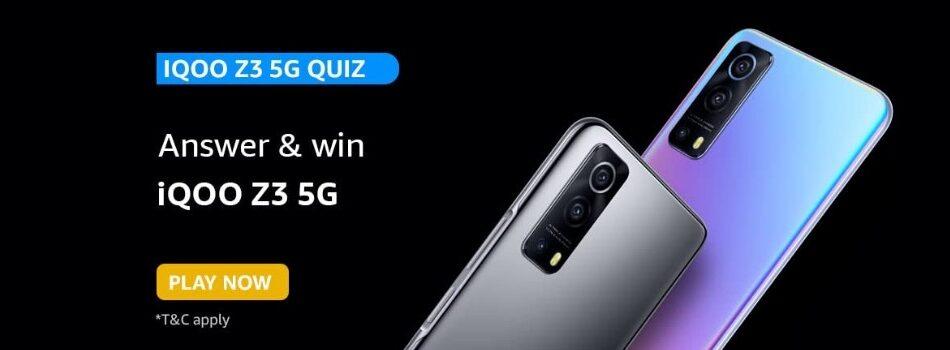 Amazon IQOO Z3 5G Quiz Answers Win IQOO Z3 5G Smartphone (5 Winners)