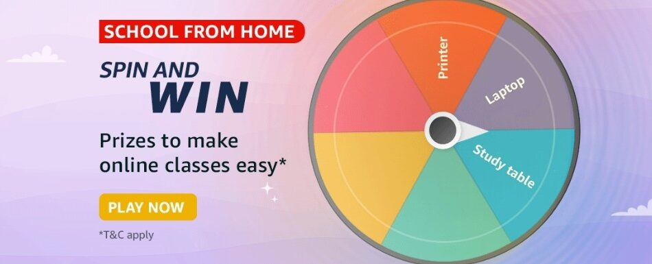 Amazon Spin and Win School From Home Quiz Answer