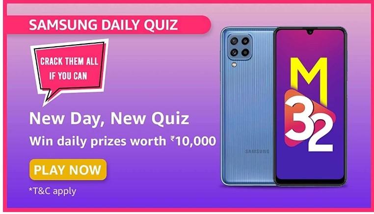 Amazon Samsung Daily Quiz Answers Win Rs. 10,000 Pay Balance