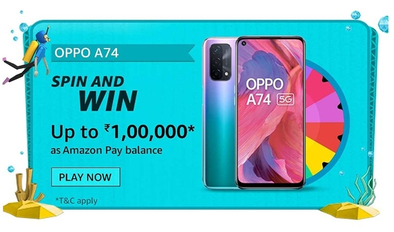 Amazon Spin and Win Oppo A74 Quiz Answer