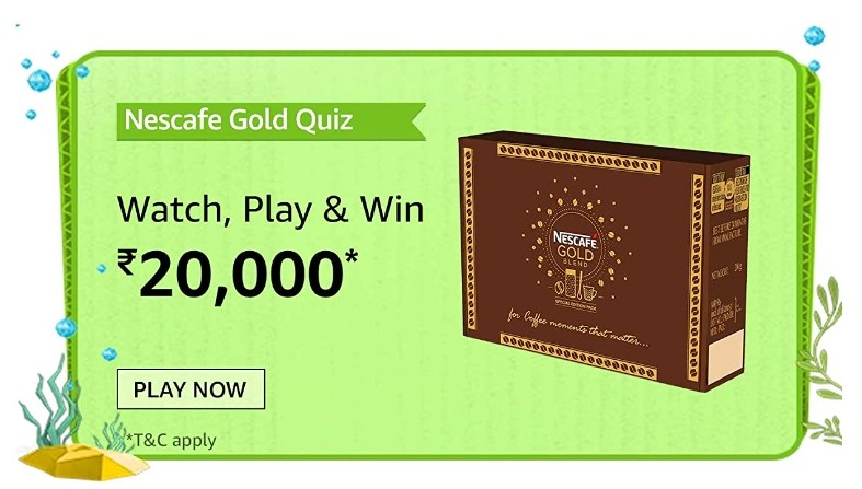 Amazon Nescafe Gold Quiz Answers Win Rs. 20,000 Pay Balance (10 Winners)