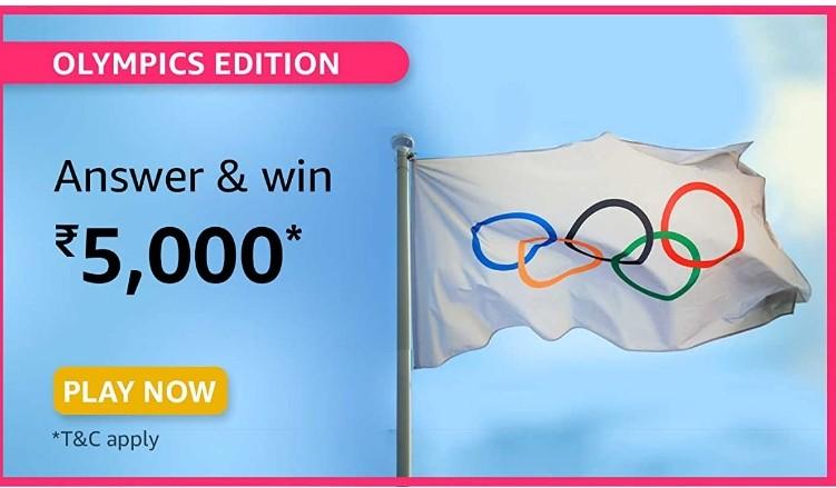 Amazon Olympics Edition Quiz Answers Win Rs. 5,000 Pay Balance
