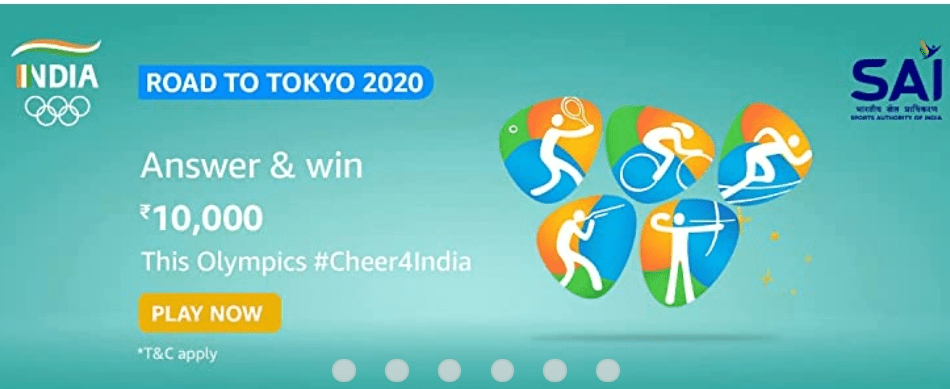Amazon Road to Tokyo Quiz Answers Win Rs. 10,000 Pay Balance (5 Winners)