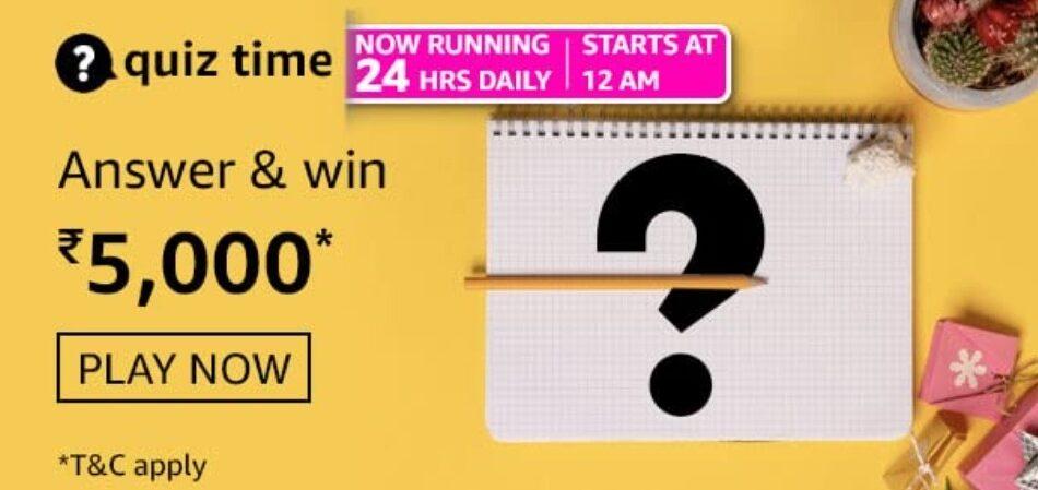 Amazon Quiz Answers 26 August 2021 Win Rs. 5,000 Pay Balance (10 Winners)