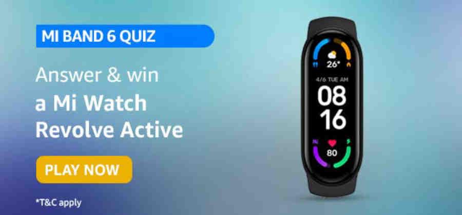 Amazon Mi Band 6 Quiz Answers Win Mi Watch Revolve Active (10 Winners)