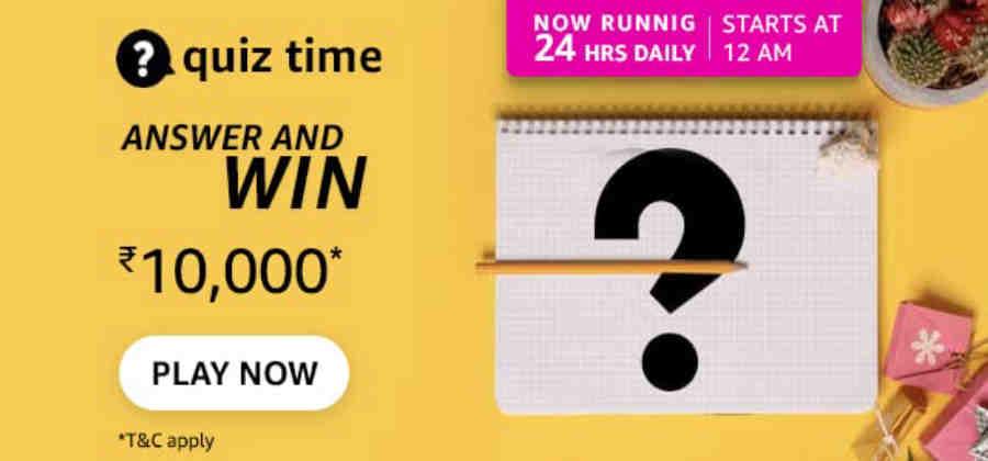 Amazon Quiz Answers 14 September 2021 Win Rs. 10,000 Pay Balance (4 Winners)