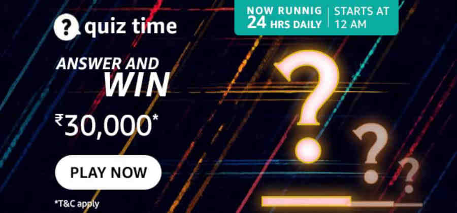 Amazon Quiz Answers 9 September 2021 Win Rs. 30,000 Pay Balance